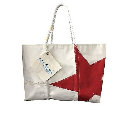 SEA BAGS Hand Made In USA White e red Made with Sails of boats brownfield sites