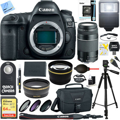 Canon EOS 5D Mark IV 30.4 MP DSLR Camera (Body) & 75-300mm Lens Bundle