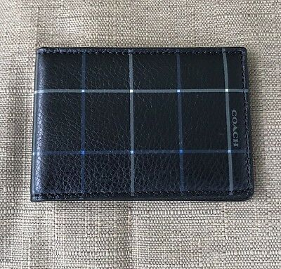 New Coach Men's Black Tattersall Leather Slim Card  Id Case / Holder