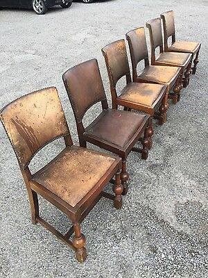 set of 6 antique leather dining chairs