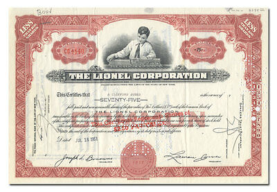 Lionel Corporation Stock Certificate (Toy Trains, Older Type)