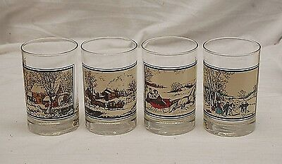 Currier & Ives Set 4 Arby's Collector Glasses American Homestead Winter Pastime
