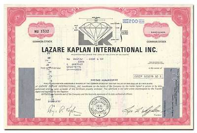 Lazare Kaplan International Inc. Stock Certificate