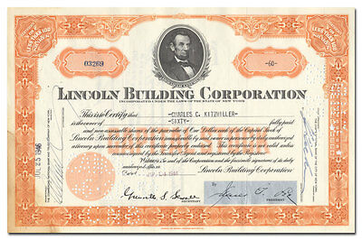 Lincoln Building Corporation Stock Certificate