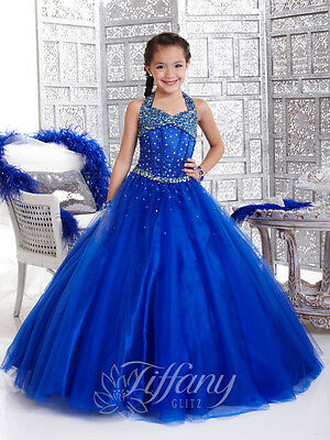 US Stock Size6/8/10/12 Bule Flower Girl Dress Princess Pageant Ball Gowns Hot