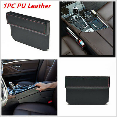 1XPU Leather Catch Catcher Box Caddy Car Seat Gap Slit Pocket Storage Organizer