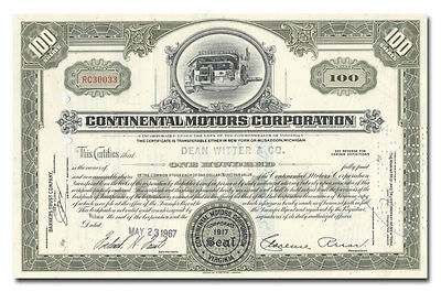 Continental Motors Corporation Stock Certificate Issued to Dean Witter & Co.