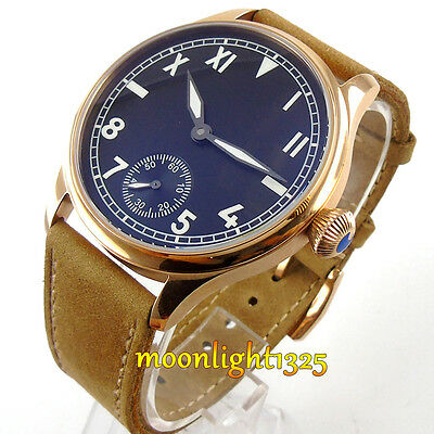 Parnis 44mm gold case mens watch california dial 6498 hand winding movement