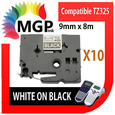 PcikUp Only-10XTZ325 P-touch Label Tape 9mm Brother PT1090 White/Black Laminated