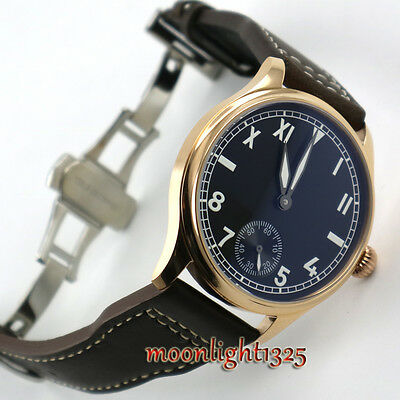44mm parnis black dial luminous 6498 hand winding movement mens wristwatch