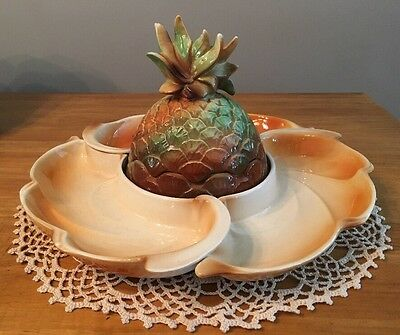 Vintage Lane and Company Van Nuys CA Fruit Relish Dip Set 3 dishes w/pineapple