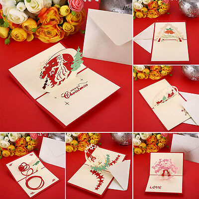 3D Pop Up Hollow Cards Lover Christmas Xmas Greeting Bless Presents Cards