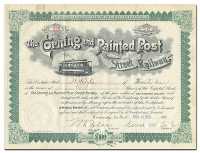 Corning and Painted Post Street Railway Stock Certificate
