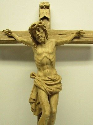 "20"" Dolomite Crucifix Carved in Oak - by Salcher Woodcarvings - All Natural Wood"