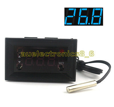W1218 Blue Thermostat 12V +NTC Probe Controller 3-Digit Display Replace W1209WK