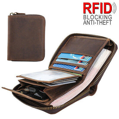RFID Men's Leather Small Wallet Slim Purse Zip Around Credit Card Coins Holder