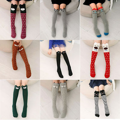 Baby Kids Girls Knee High Socks Tights Cartoon Animal Leg Warmer Stockings Hot