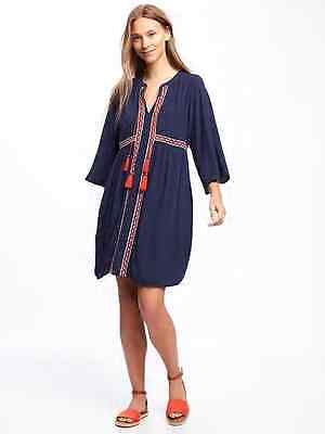 6cf50bfbca2 Old Navy Women s Lost at Sea Navy Embroidered Tie Front Swing Dress Size XS