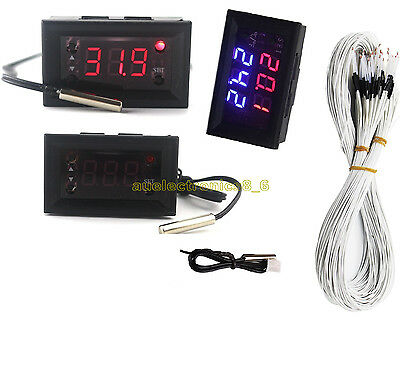 DC 12V Red Blue Thermostat+3-Digit NTC Probe Controller Replace W1209WK AU