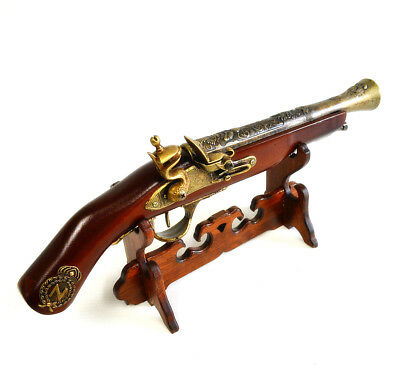 "New Gift Home Decoration Flintlock 15"" Pistol Models #04 Wooden Desk Top Stand"