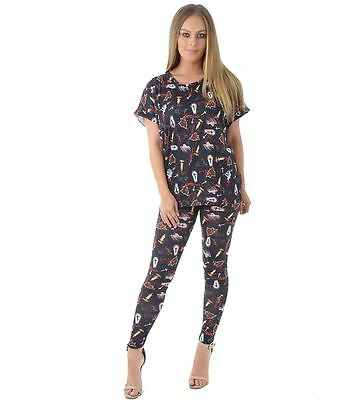 Womens Halloween Rose Candle Cross Legging Ladies Turn up Sleeve Top Scary Party