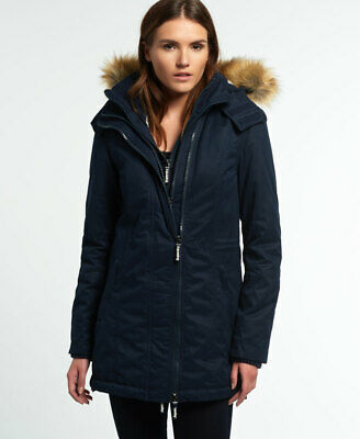 New Womens Superdry Microfibre Tall Windparka Jacket Navy