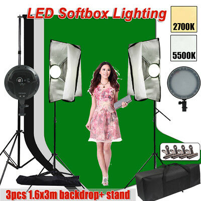 Photo Studio DIMMABLE LED Softbox Lighting Soft Box Light +3 Backdrops Stand Kit
