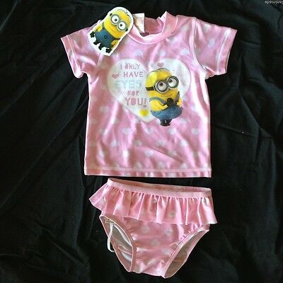 MINIONS Despicable Me Baby Girls Bathers Top Pants BNWT Size 0 1 2 ** Free Post*
