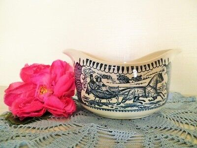 Vintage Gravy Boat Jug Blue & White Royal China Currier & Ives Usa 2 Available
