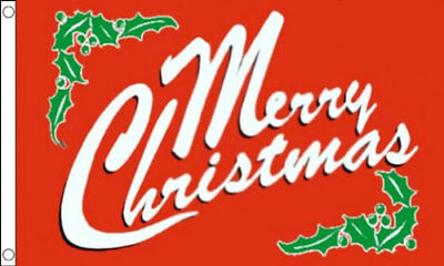 MERRY CHRISTMAS FLAG 5' x 3' Red Happy Xmas New Year Party