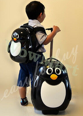 New Deluxe Kid Wheeled Rolling 17'' Suitcase Luggage & 13'' Backpacker Penguin