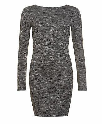 New Womens Superdry Factory Second Augusta Bodycon Dress Rocky Grey