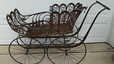 Antique VICTORIAN WICKER BABY/CHILD CARRIAGE STROLLER-HEIRLOOM