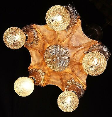 Vintage Art Deco Cast Iron Markel Ceiling Light Fixture Chandelier  1930