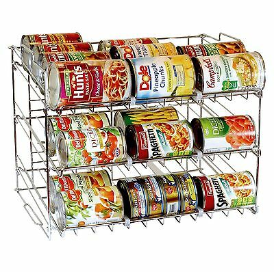 3 Tier Stackable Can Rack Organiser Storage for 36 Cans Kitchen Cabinet Counter