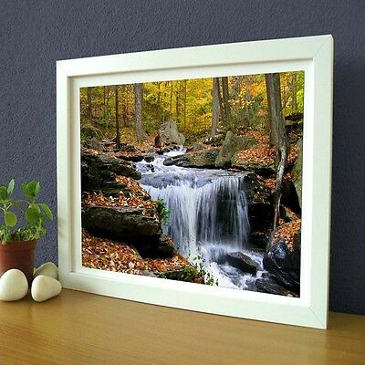 Yellow Forest Waterfall Cool Nature Canvas Wall Art Large Picture Print Unframed