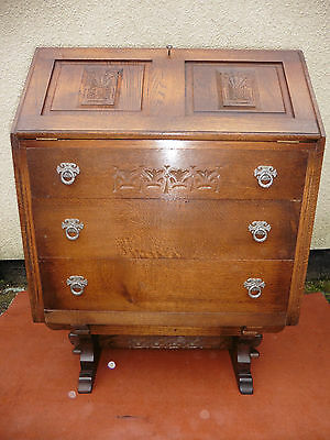 Carved Oak Writing Bureau, Desk, 3 Drawers Working Key Supplied, Clean & Tidy.