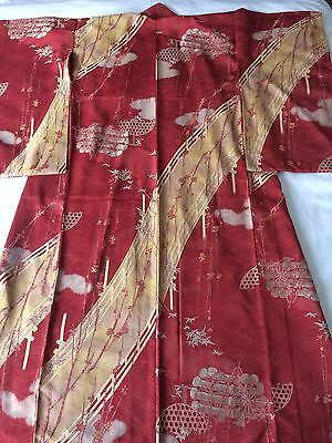 Antique Japanese Pink Crimson KIMONO  Bridge & Cherry Flowers