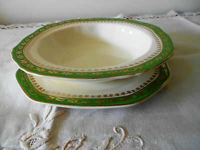 Meakin Sweet Bowl & Plate Royal Green With Gold Pattern Design 1945-1959