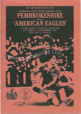 UNITED STATES 1987 RUGBY TOUR PROGRAMME PEMBROKESHIRE v USA 3rd Nov Whitland