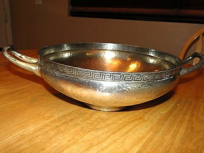 Marcus & Co. Ny Large Sterling Silver Greek Key Pattern Double Handled Bowl