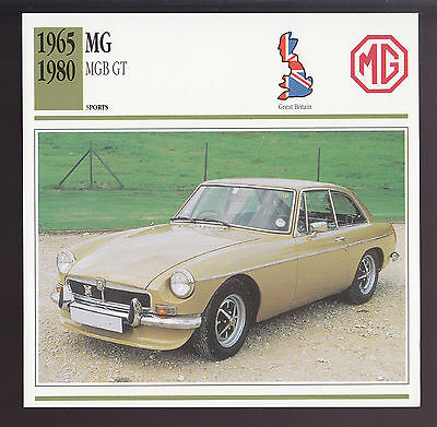 1965-1980 MG MGB GT M.G. British Sports Car Photo Spec Sheet Info ATLAS CARD