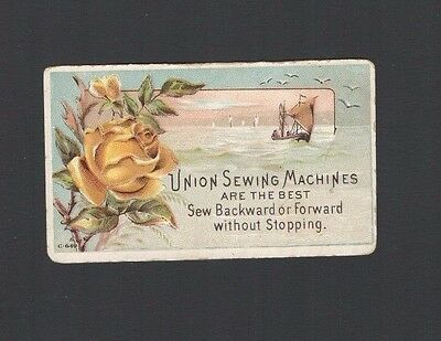 VICTORIAN Advertising Trade Card UNION SEWING MACHINES Sail boats & Roses