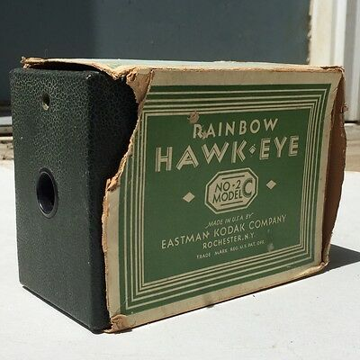 GREEN KODAK RAINBOW HAWK-EYE No 2 MODEL C CAMERA WITH BOX
