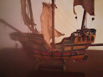 Antique Wooden Model Three Mast Santa Maria Ship