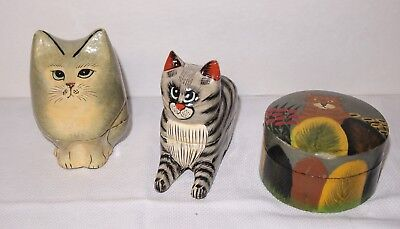 Vintage India Painted Wood Box Cat