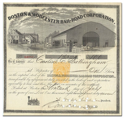Boston & Worcester Rail-Road Company Stock Certificate (dated 1867)