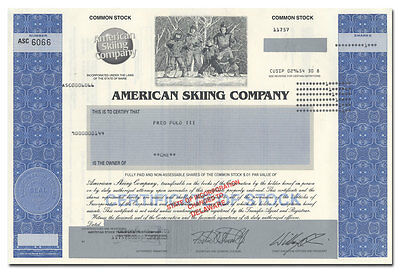 American Skiing Company Stock Certificate