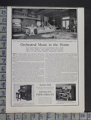 1905 Musical Instrument Aeolian Pipe Organ Orchestra Music Vintage Ad Dq08