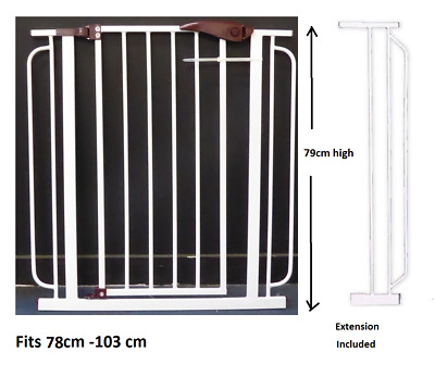 Safety Gate for Child/ Pet with Extension 79cm High Auto Close - Fits 70 - 103cm